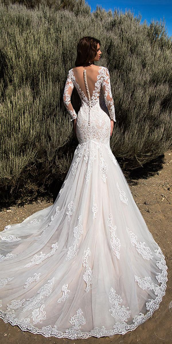 nora naviano wedding dresses mermaid with long sleeves lace back 2018