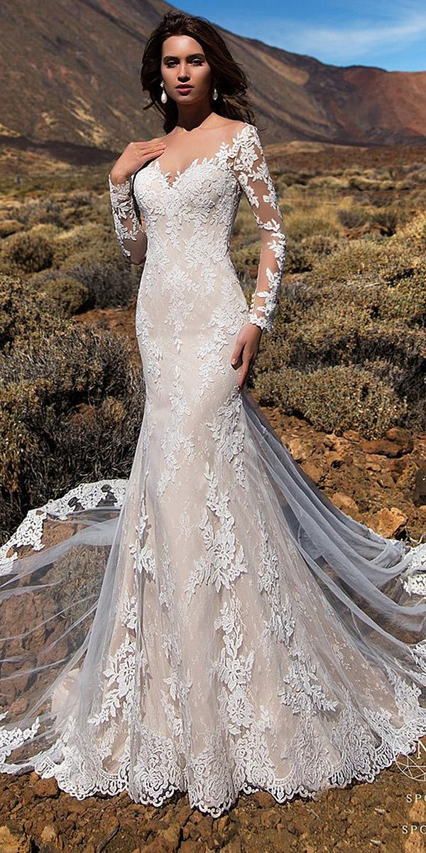 nora naviano wedding dresses sheath with long sleeves lace 2018