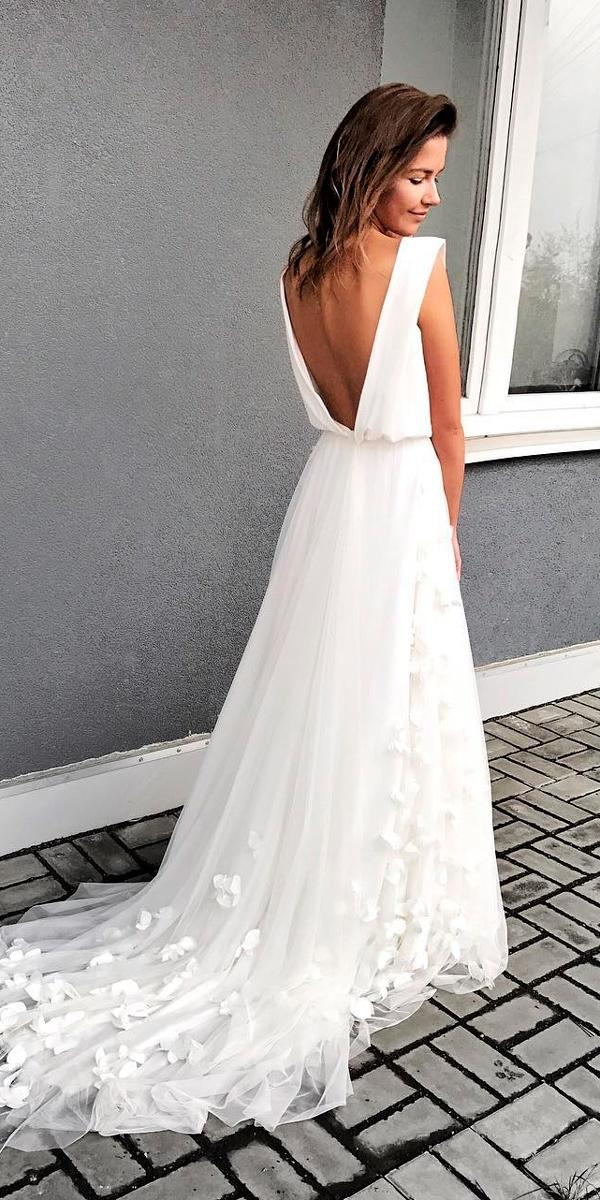 simple wedding dresses a line cap sleeves low back with train murashka official