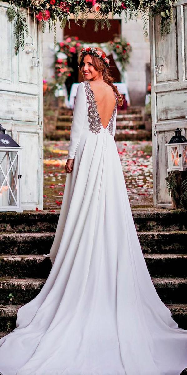 Exceptional Simple Wedding Dresses A Line Low Back Long Sleeves With Train Nicolas  Costura