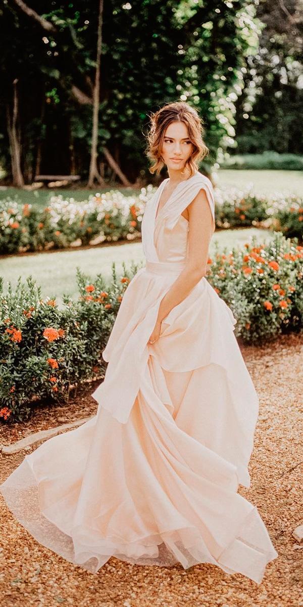 simple wedding dresses a line ruffled skirt sleeveless blush halletoothman