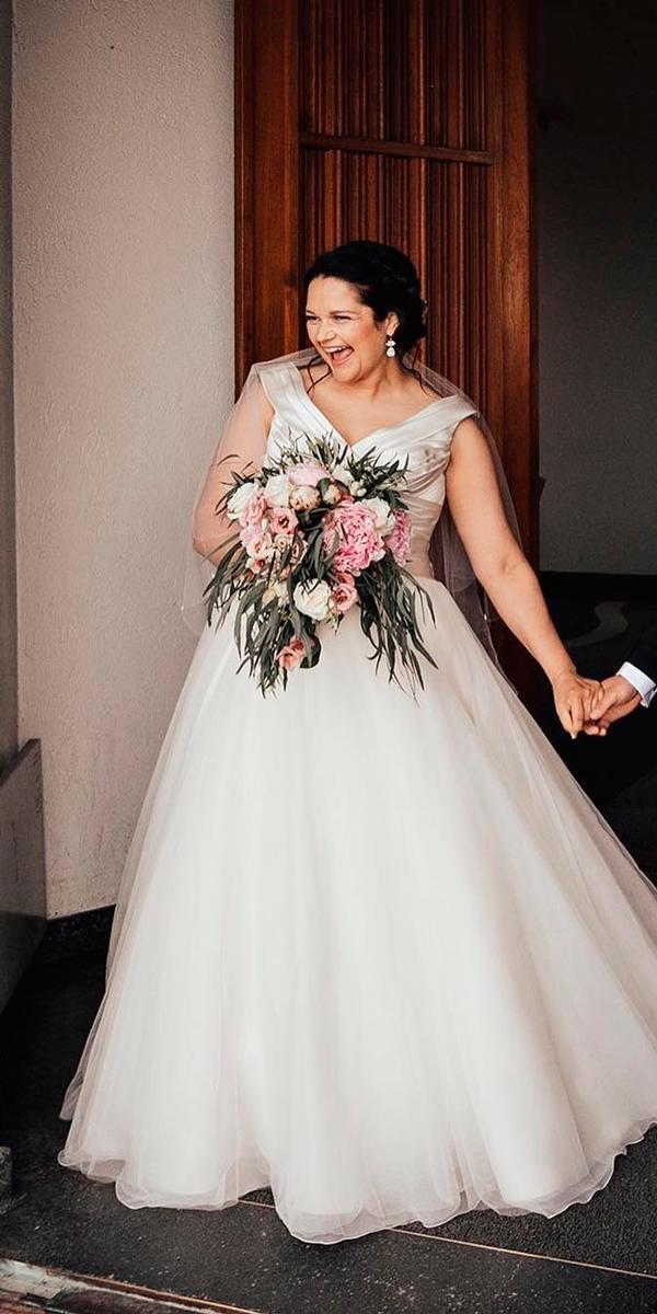 simple wedding dresses a line v neckline plus size sleeveless with straps liebenfoto