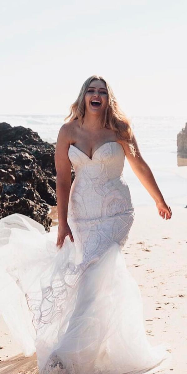simple wedding dresses beach plus size strapless sweetheart neckline lace chosen by one day