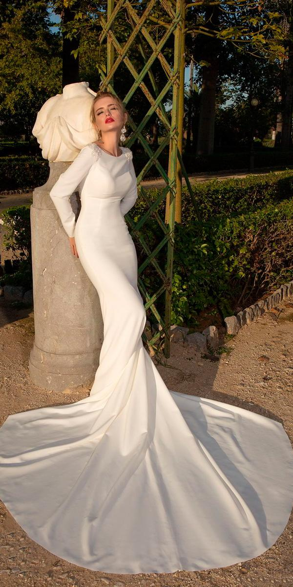simple wedding dresses long sleeves elegant fit and flare high neckline louise sposa