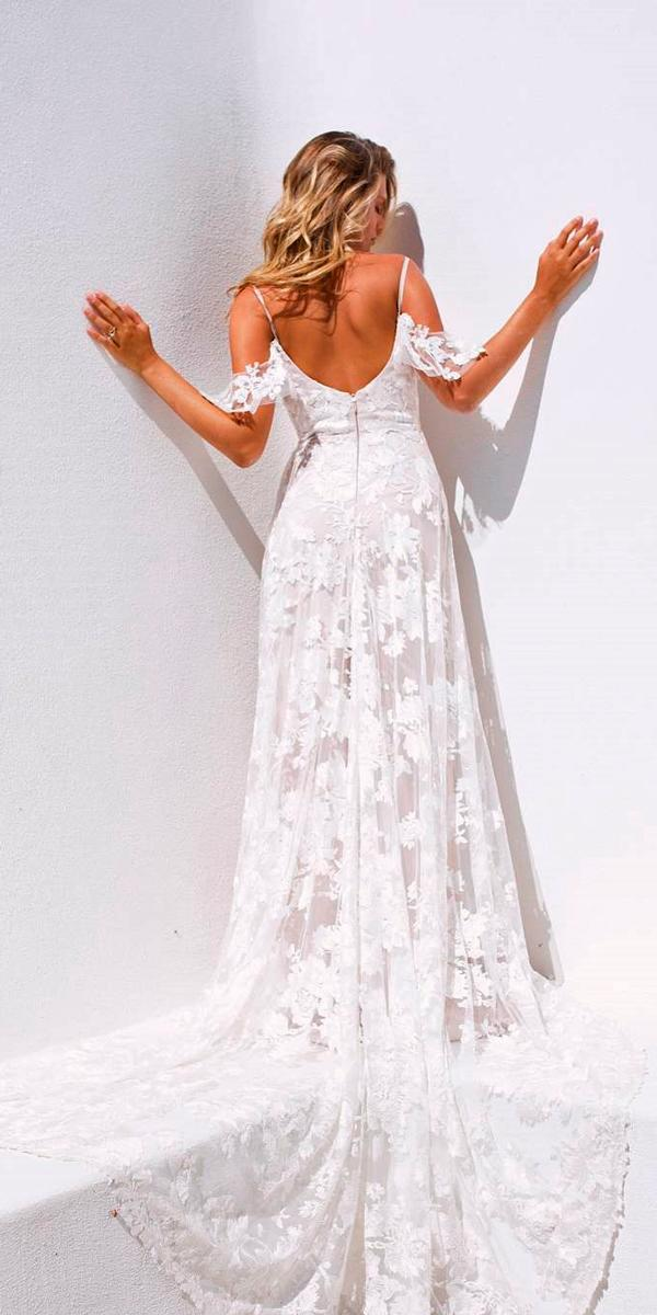 simple wedding dresses open back straight off the shoulder lace with train madilane bridal