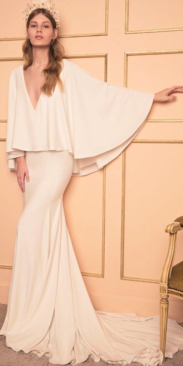 simple wedding dresses sheath v neckline with capes dana harel design