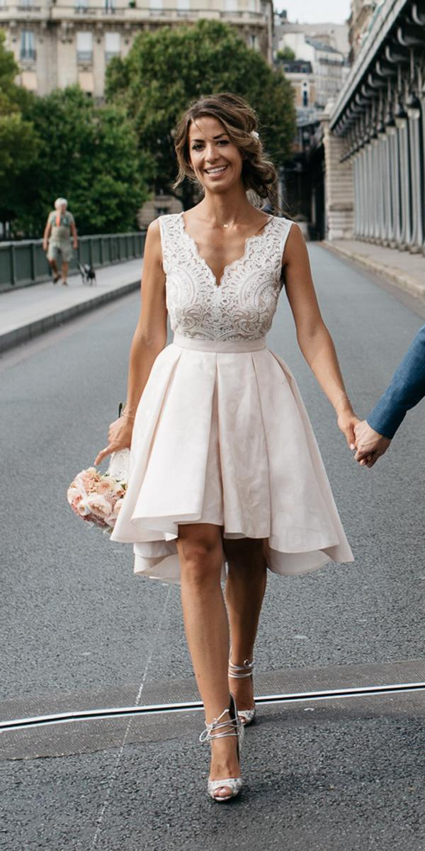 simple wedding dresses short v neckline sleeveless blush kiwo es