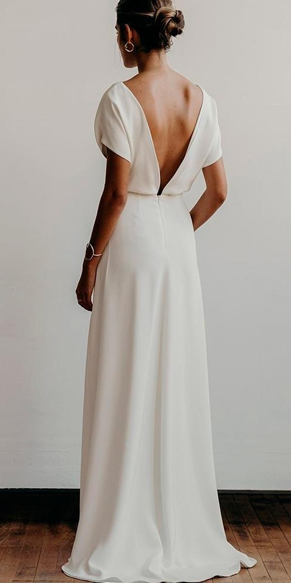 simple wedding dresses straight low back with sleeves modern lena medoyeff bridal