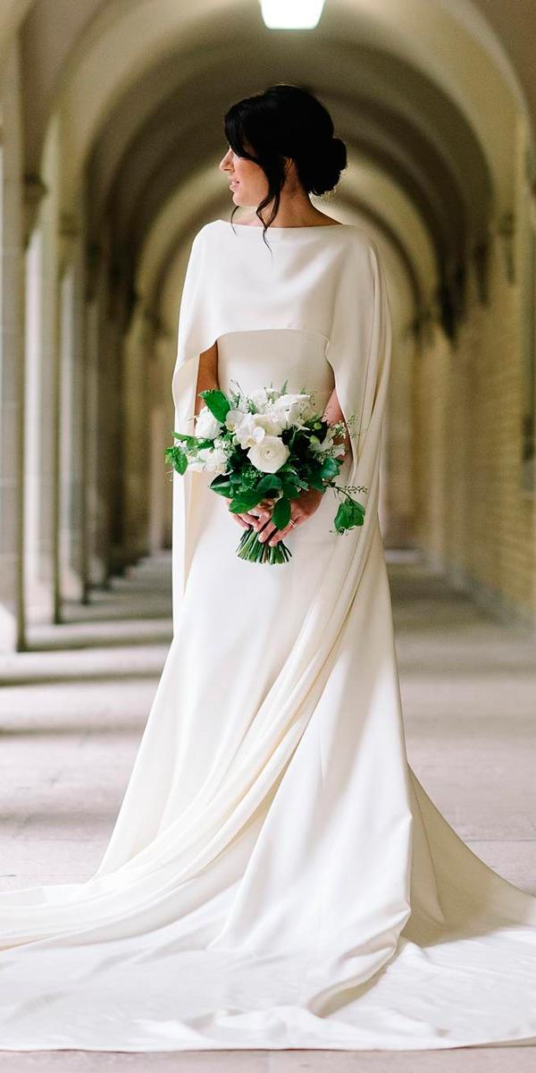 simple wedding dresses straight modern trendy with capes leaannbelter bridal