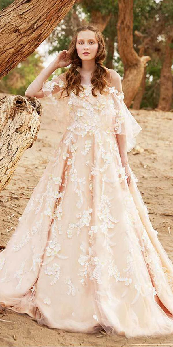 tiglily 2018 wedding dresses a line off the shoulder blush colored