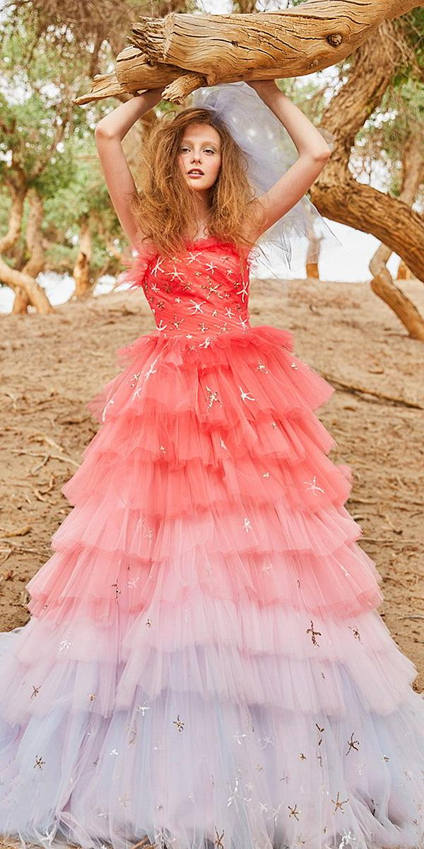 tiglily 2018 wedding dresses a line strapless neckline tulle ruffled skirt ombre red color