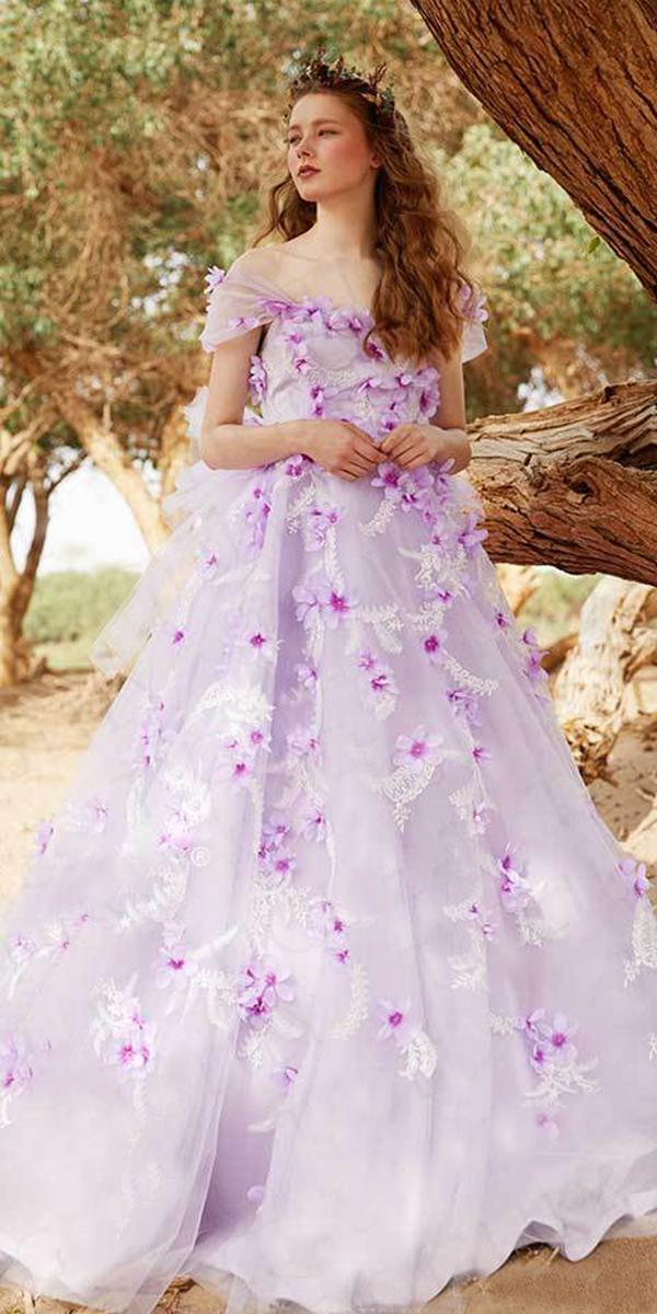 tiglily 2018 wedding dresses ball gown off the shoulder purple 3d floral