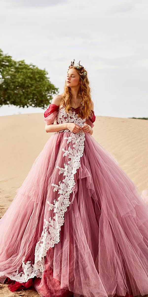 tiglily 2018 wedding dresses ball gown off the shoulder tulle skirt red color