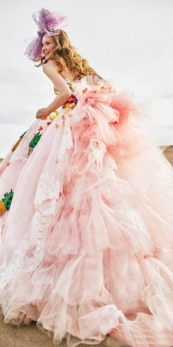 tiglily 2018 wedding dresses ball gown ruffled skirt colored
