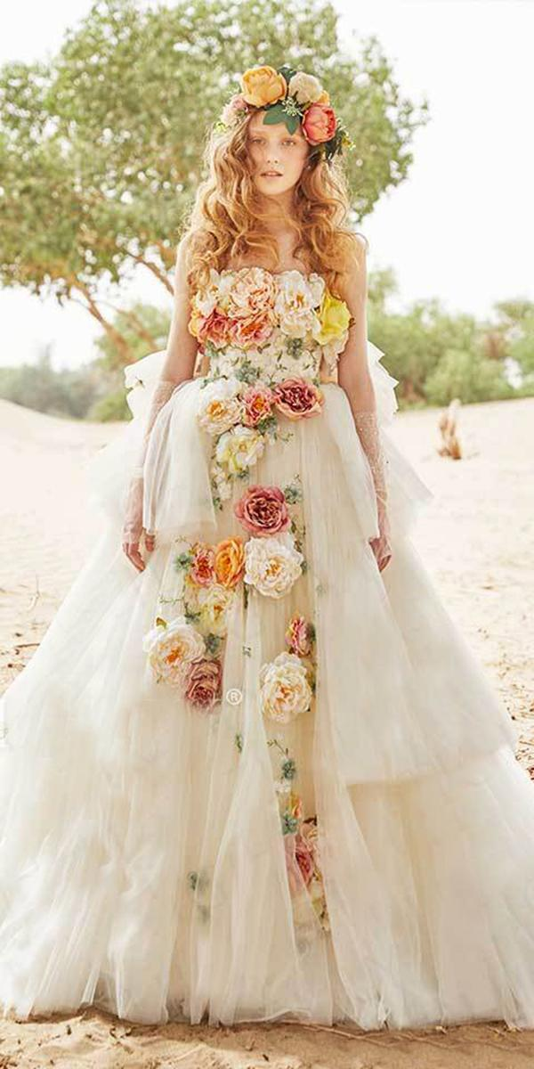 tiglily 2018 wedding dresses ball gown strapless 3d floral appliques tulle skirt colorful