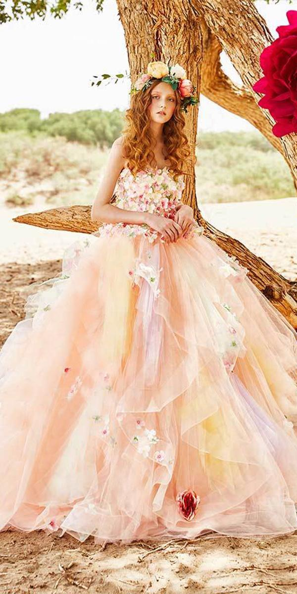 tiglily 2018 wedding dresses ball gown strapless 3d floral tulle skirt colorful