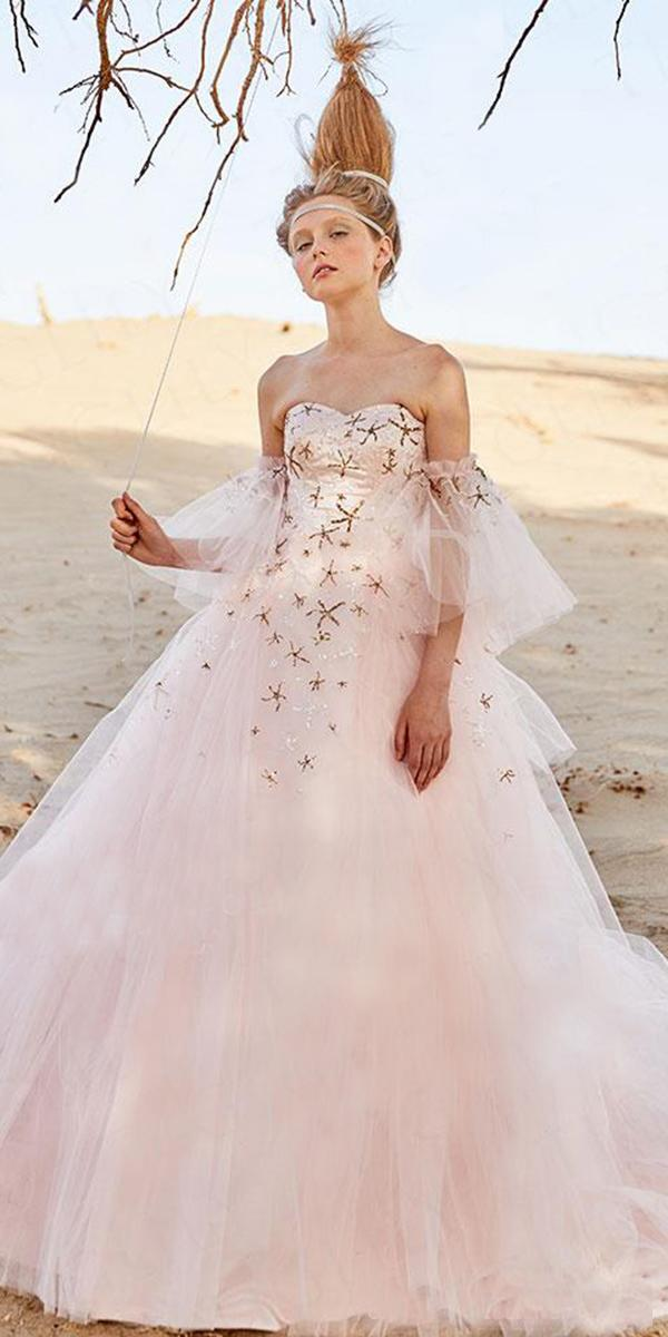tiglily 2018 wedding dresses ball gown strapless detached sleeves blush color