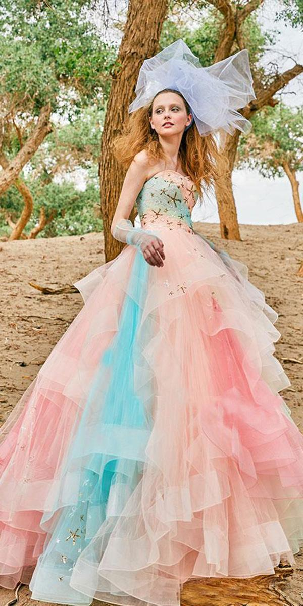 tiglily 2018 wedding dresses ball gown strapless ruffled tulle skirt ombre colored