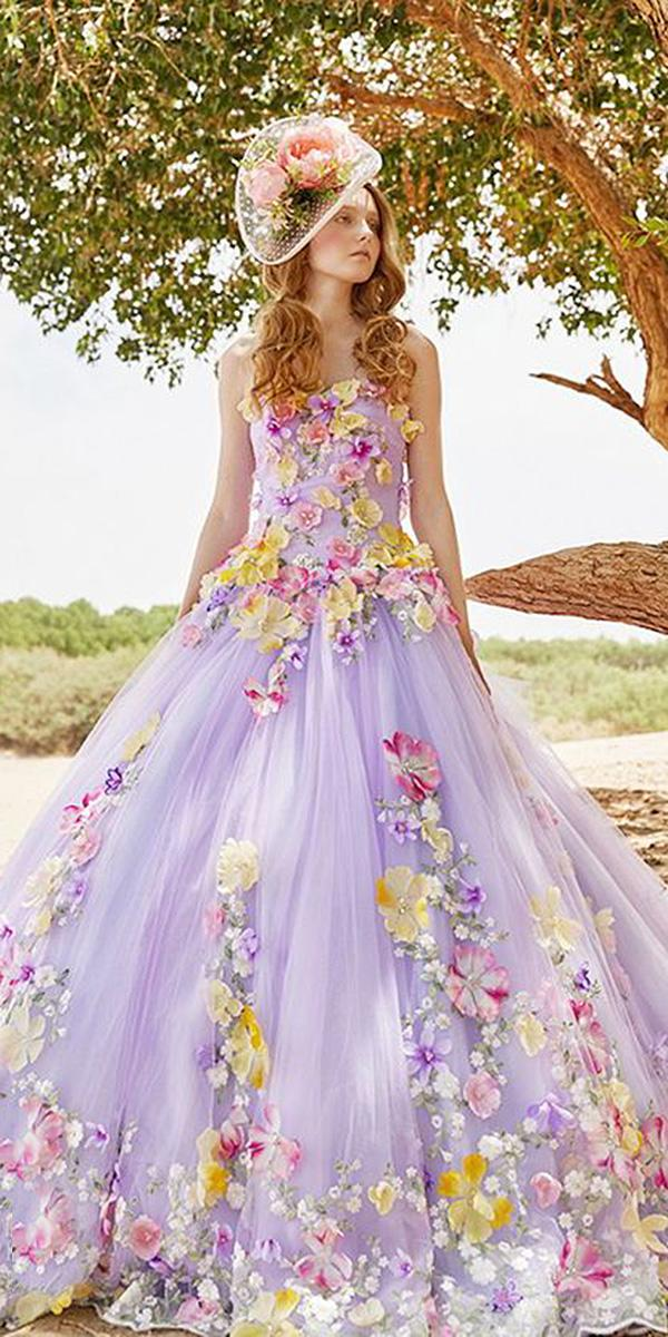 tiglily 2018 wedding dresses ball gown 3d appliques purple colored