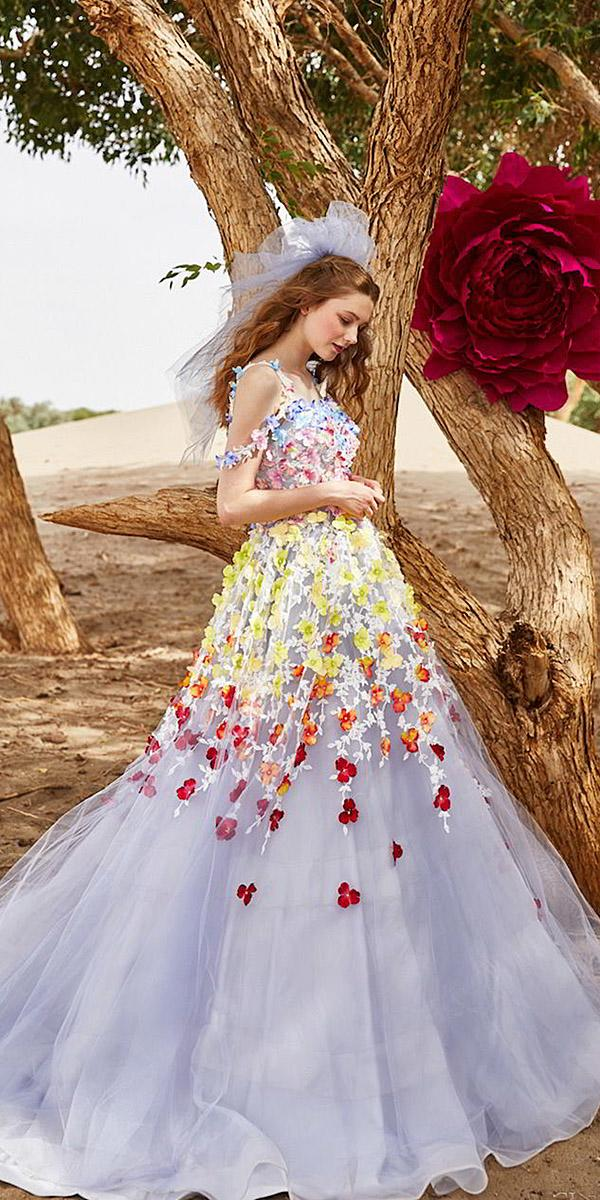 tiglily 2018 wedding dresses ball gown with 3d floral purple color
