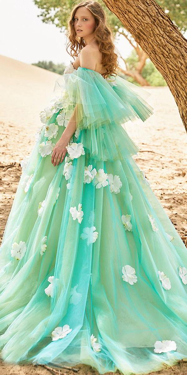 tiglily 2018 wedding dresses ball gown with floral appliques green color