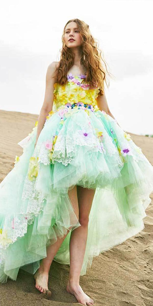 tiglily 2018 wedding dresses knee length floral appliques green colored