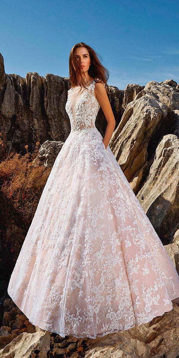 tony ward wedding dresses ball gown deep v neckine floral lace blush 2018