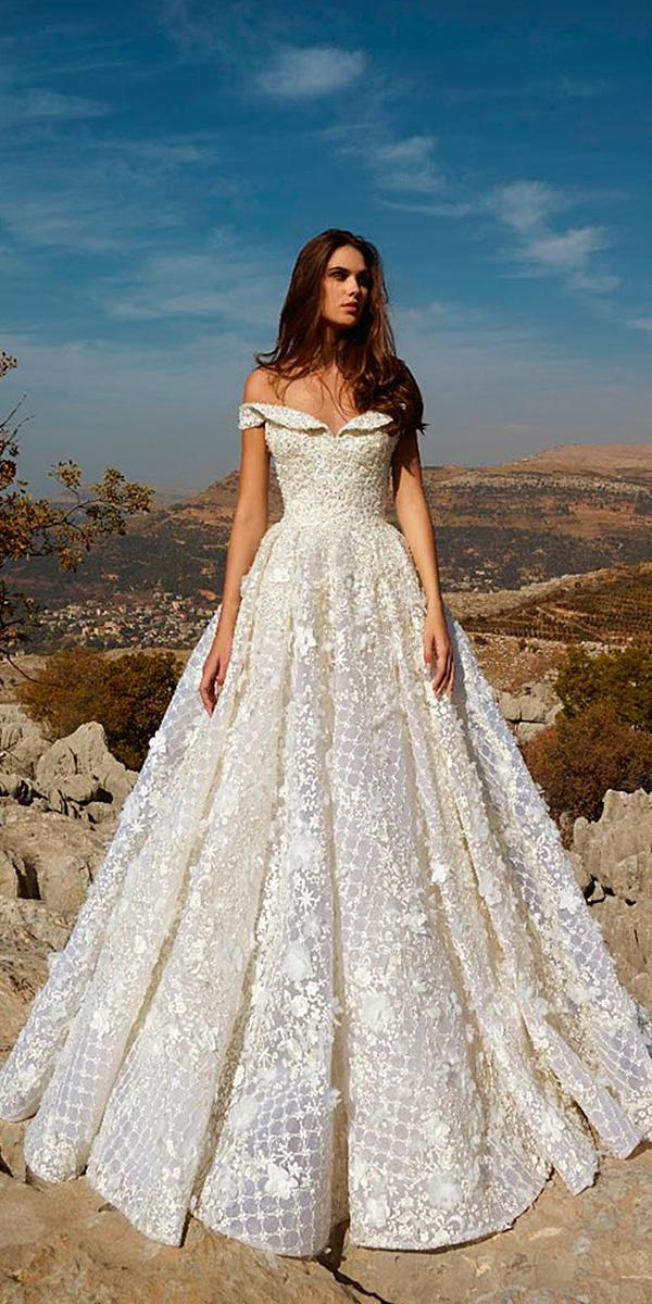tony ward wedding dresses ball gown off the shoulder floral appliques ivory