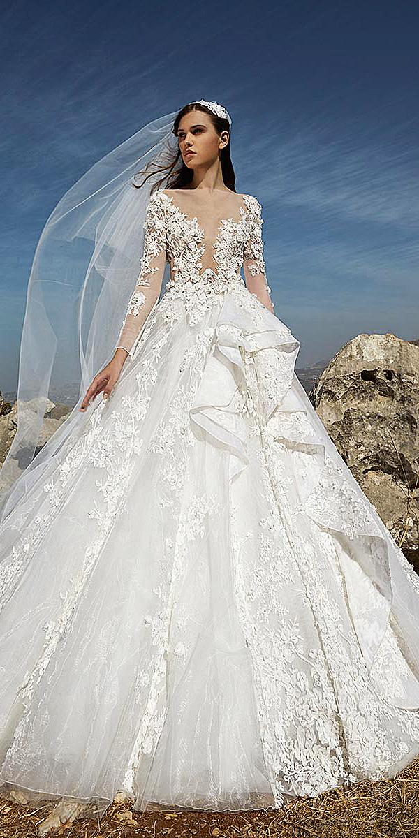 tony ward wedding dresses ball gown with long sleeves illusion neckline 3d floral