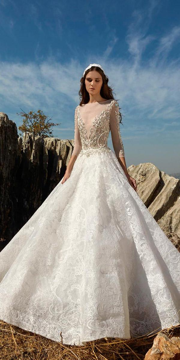 tony ward wedding dresses ball gown with sleeves beaded top 2018