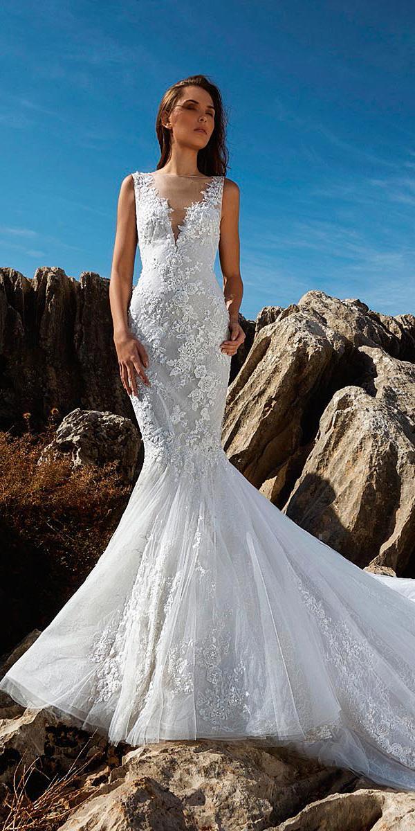 tony ward wedding dresses mermaid illusion neckline lace with train 2018