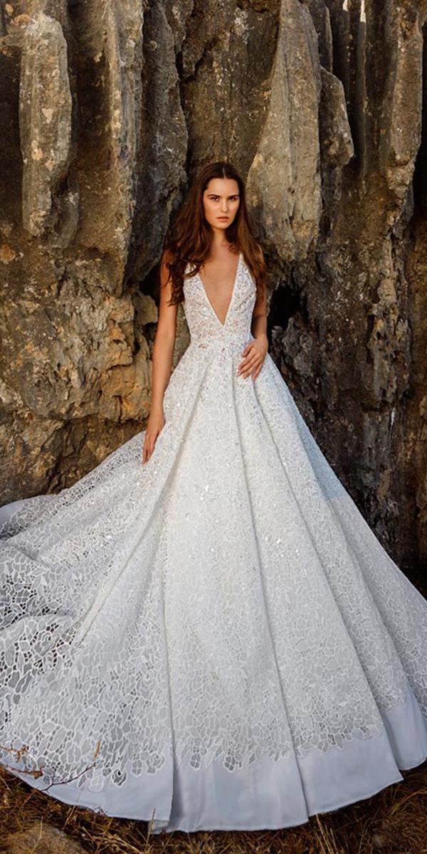 tony ward wedding dresses princesses deep v neckline lace romantic 2018