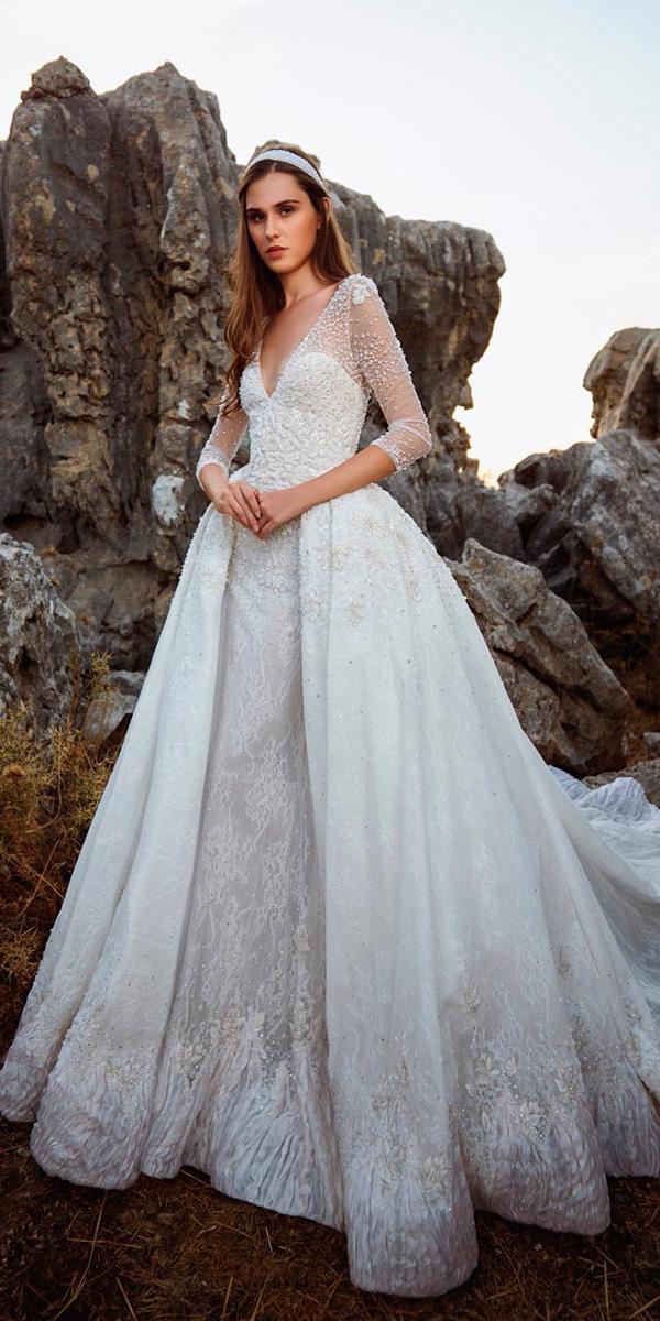 tony ward wedding dresses sheath illusion sleeves with overskirt 2018