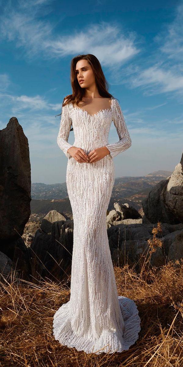 tony ward wedding dresses sheath with long sleeves illusion neckline