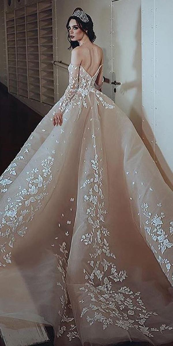 top wedding dresses bal gown v back with sleeves lace champagne said mhamad photography