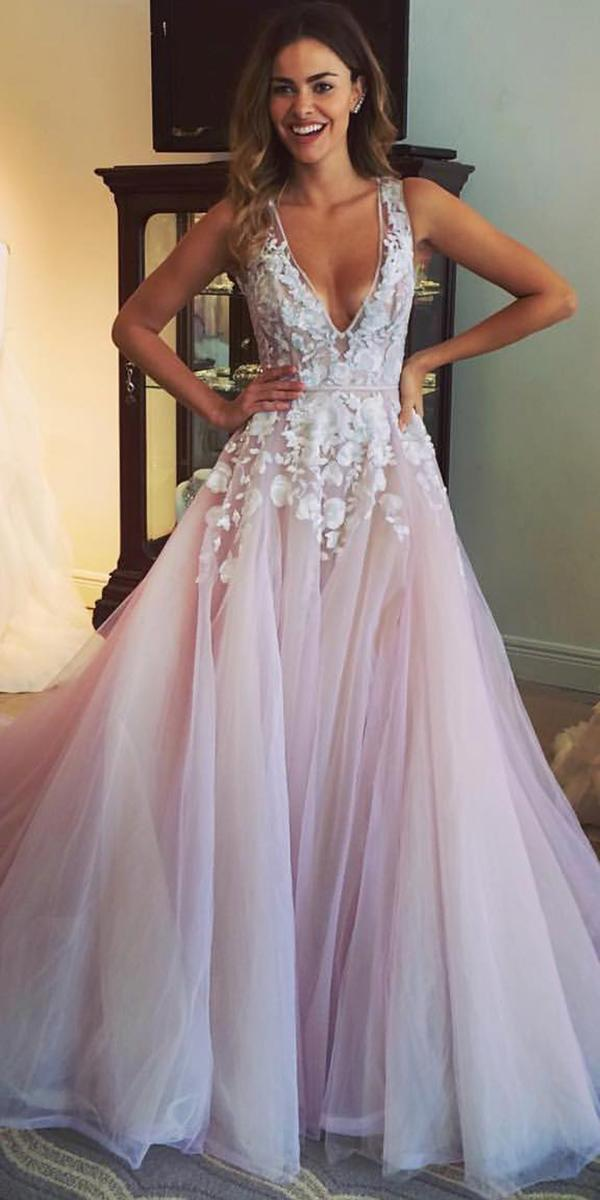 top wedding dresses ball gown deep v nneckline floral appliques hayley paige
