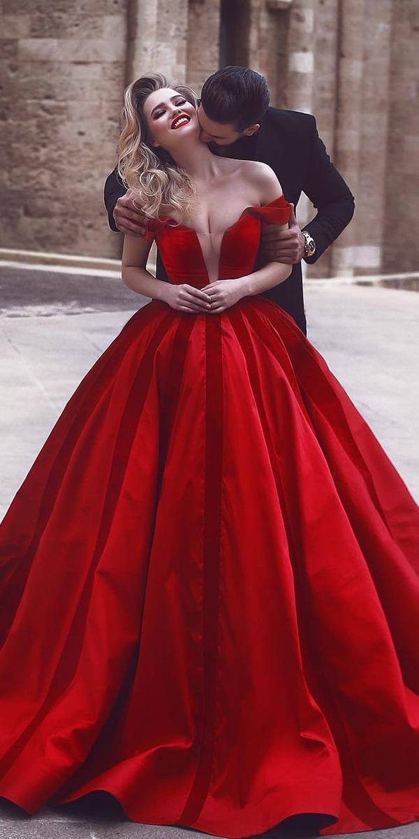 top wedding dresses ball gown off the shoulder red deep v neckline said mhamad photography