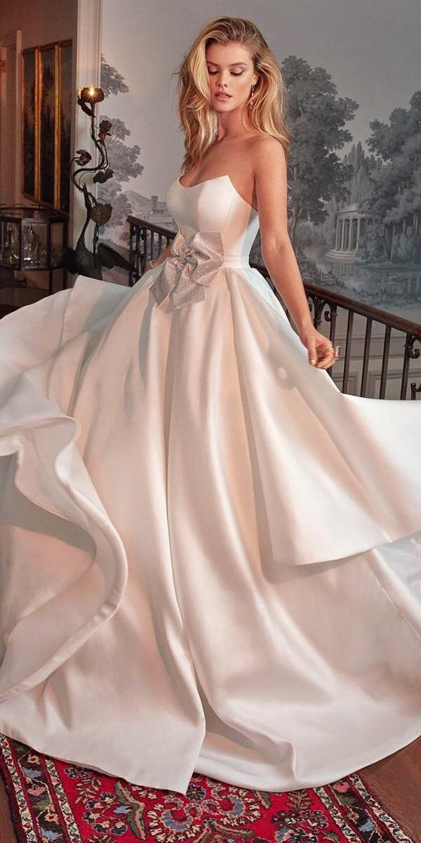 top wedding dresses ball gown strapless simple with bow galia lahav