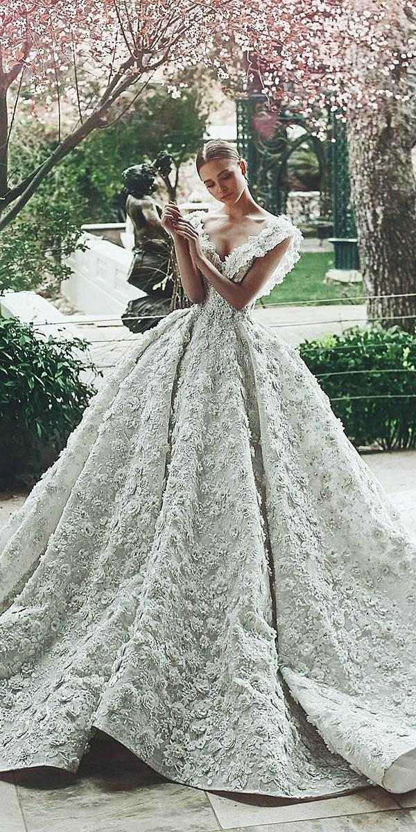 top wedding dresses ball gown neckline floral appliques said mhamad photography