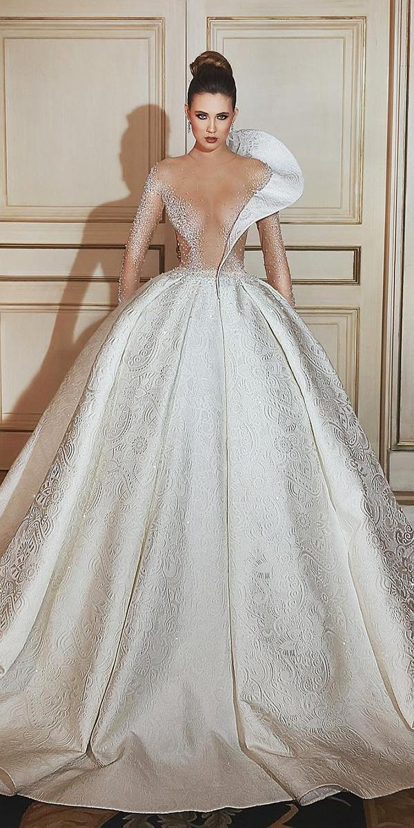 top wedding dresses ball gown with illusion sleeves said mhamad photography