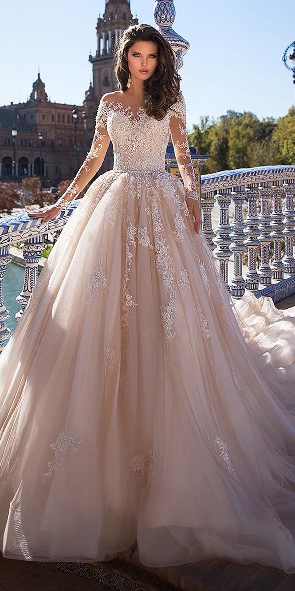 top wedding dresses ball gown with long illusion sleeves lace giovanna alessandro