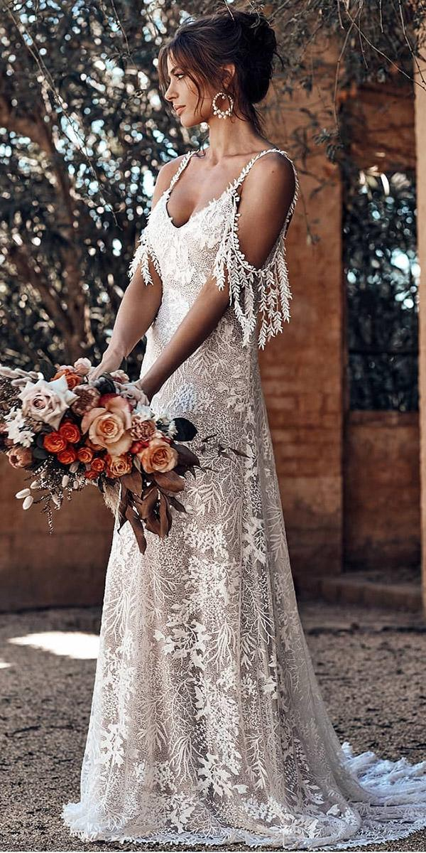 top wedding dresses boho a line with spaghetti straps lace grace loves lace