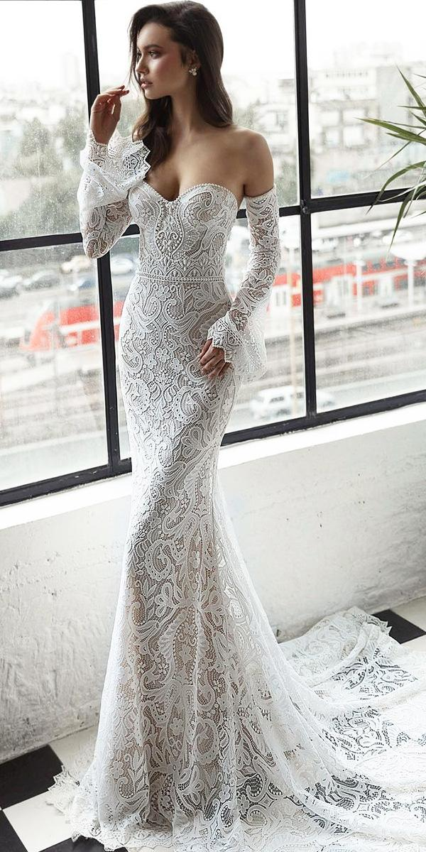 top wedding dresses detached sleeves lace sweetheart julie vino bridal