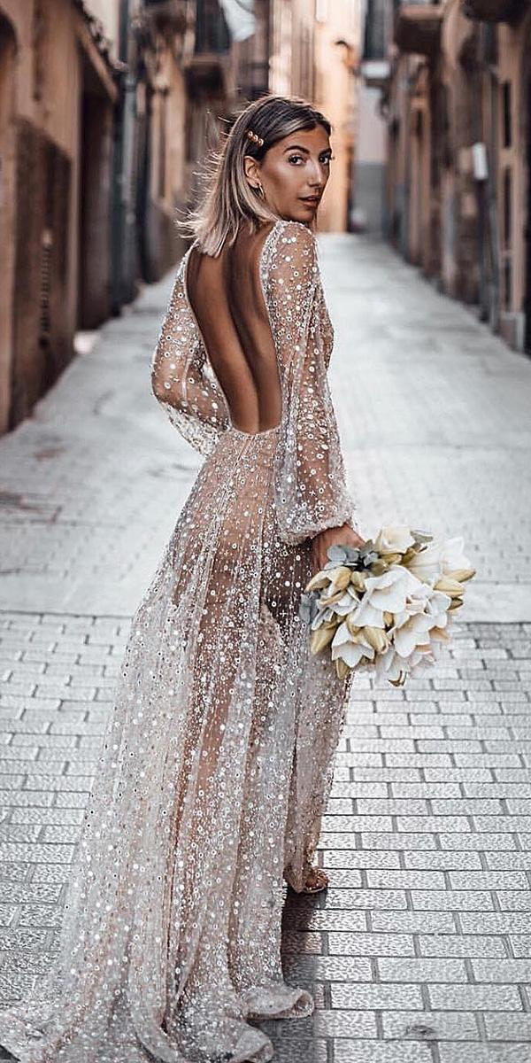 top wedding dresses open back with nude illusion sleeves for beach chosen by one day