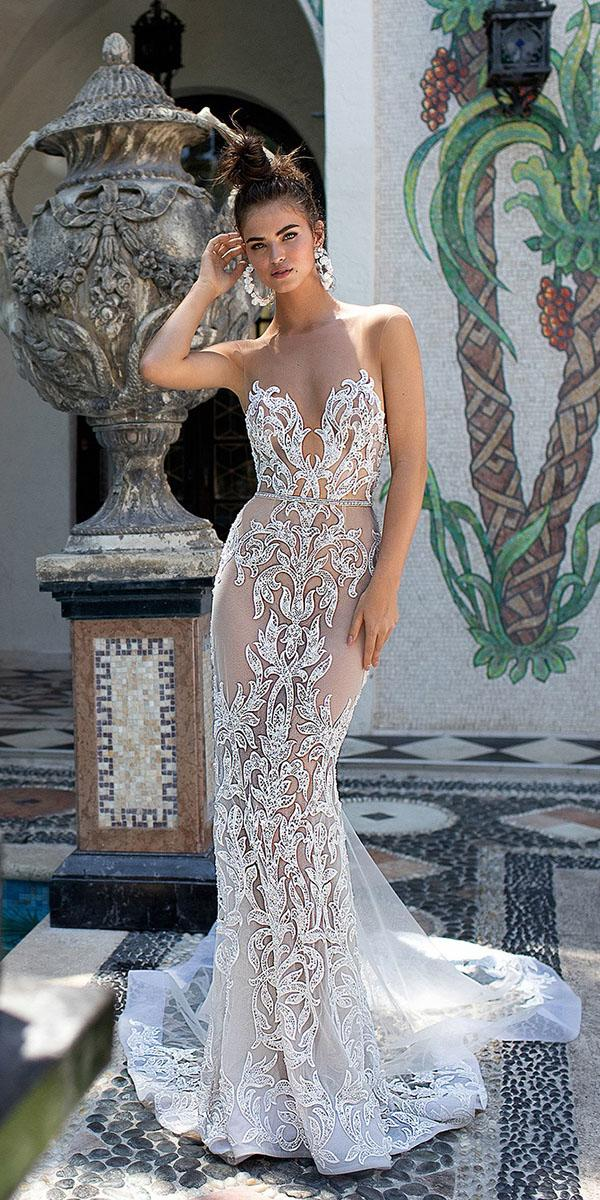 top wedding dresses sexy trumpet illusion neckline nude beach lace berta