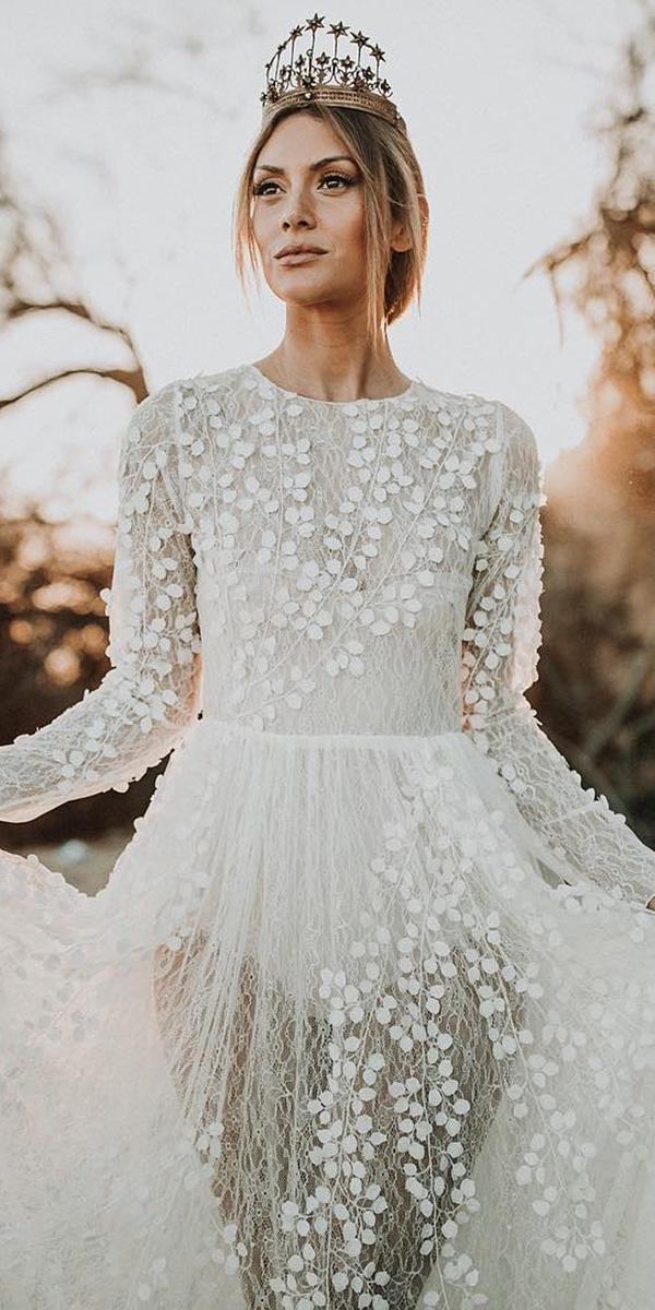 top wedding dresses with long sleeves lace floral appliques alicia rueda atelier