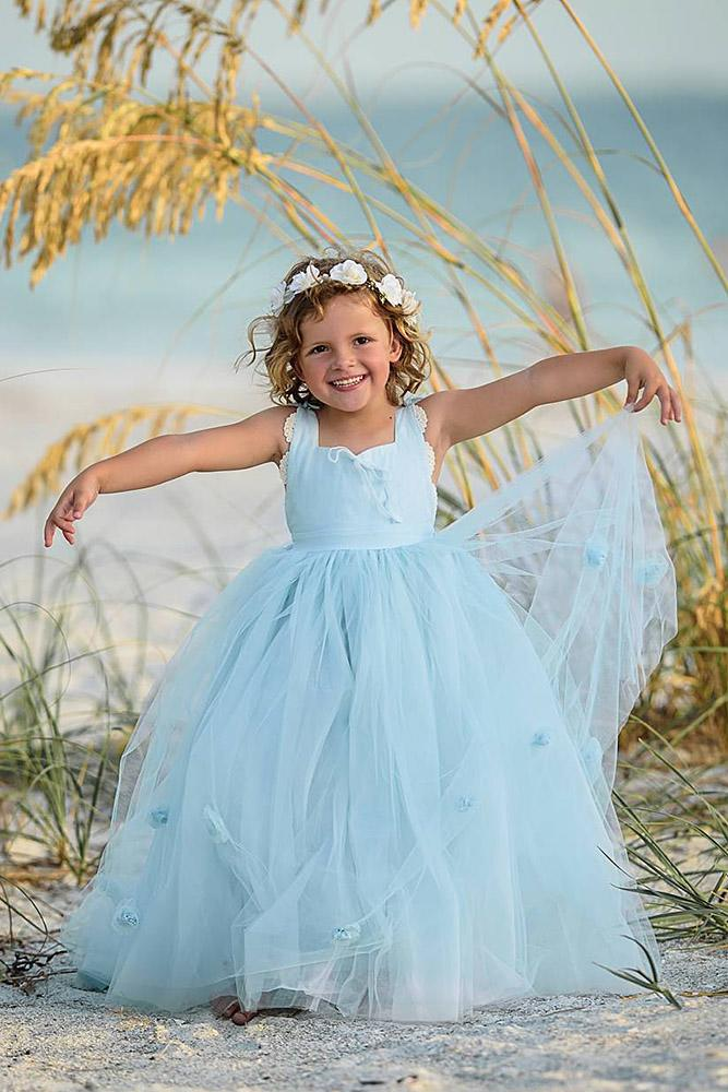 tutu flower girl dresses blue simple tulle skirt irinkac33