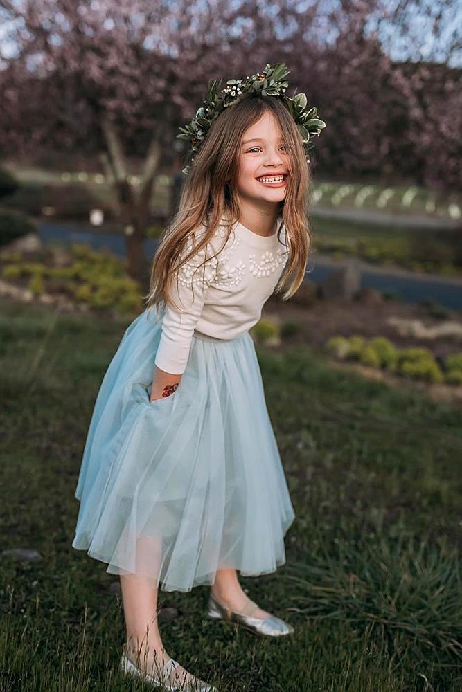 tutu flower girl dresses blue skirt country tulle drelowry
