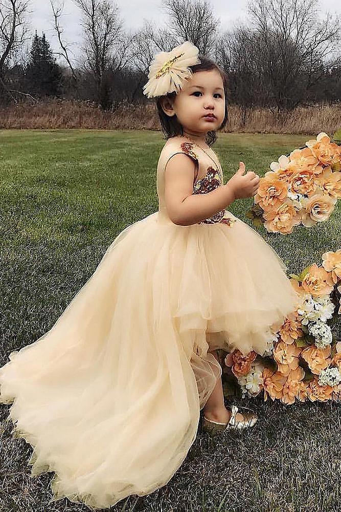 tutu flower girl dresses ivory with train itty bitt toes