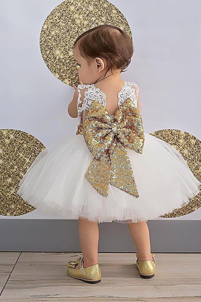 tutu flower girl dresses lace top with gold bow white itty bitty toes